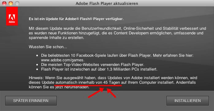 Adobe installiert das Update irgendwann in den nächsten 45 Tagen
