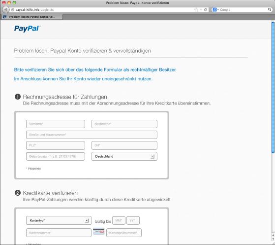 Paypal-Phishingseite